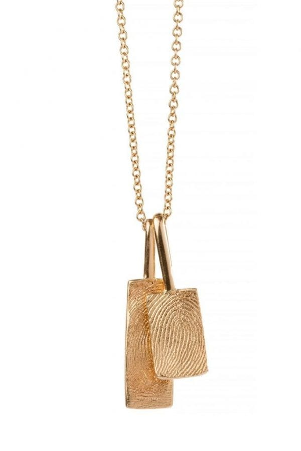 double rectangle print necklace